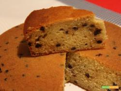 Torta soffice con farina di farro, gocce di cioccolato e bacche di goji