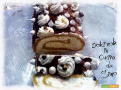 Rotolo di crema mascarpone e cioccolato bianco aromatizzato al caffe'