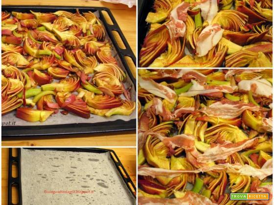 Pizza rovesciata ai carciofi con pancetta e pecorino romano