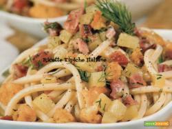Bucatini patate, speck e baccalà