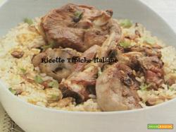 Agnello con riso allo zenzero e curry