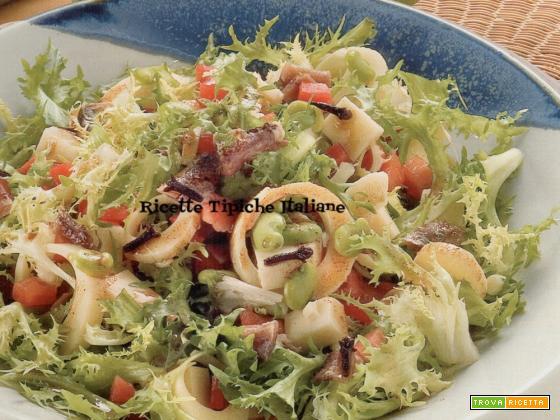 Insalata di fave, asiago e peperone