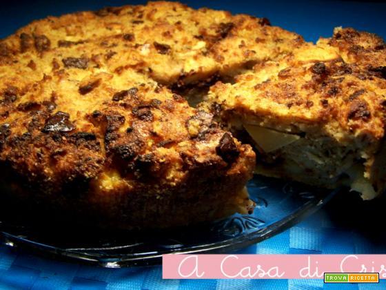 Torta di pane con mele e cioccolato fondente