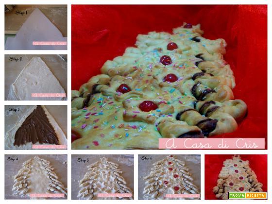 Albero di Natale di pan brioche e nutella