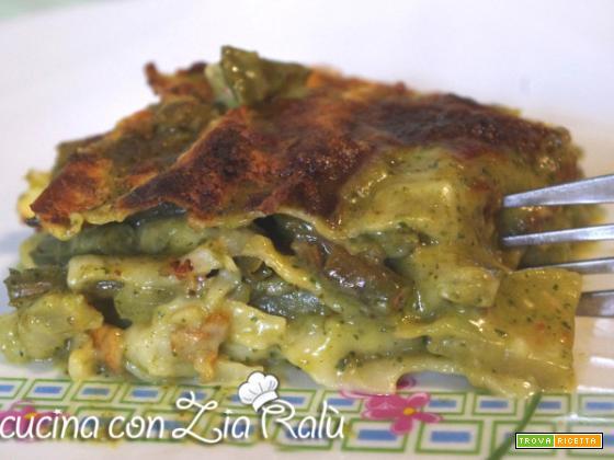Lasagne bianche fagiolini pesto e patate