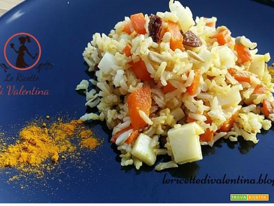 Insalata di riso basmati integrale con zucca fritta, uvetta e toma piemontese