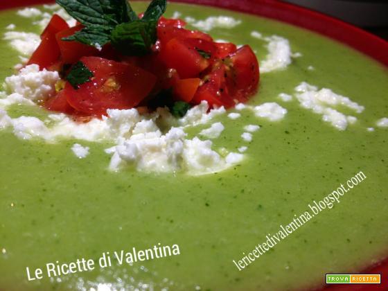 Crema di zucchine e menta con feta e pomodorini (ricetta Bimby)