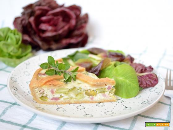 Crostata salata di fave e asparagi (con brisée all'olio)