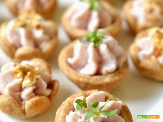 Tartellette di farro con paté di prosciutto al Marsala