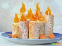 Candele di frolla con crema all'arancia e caramello