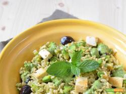 Insalata di avena e zucchini con tofu, olive e pesto di menta