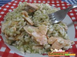 Risotto salmone e pesto di fave