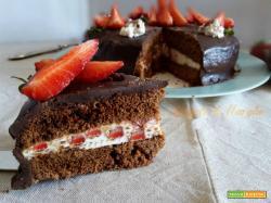 Torta fragole cioccolato e panna