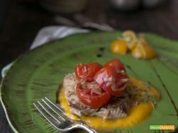 Palamita scottata pachino e crema di carote