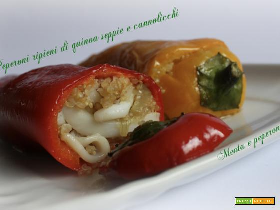 Peperoni ripieni di quinoa seppie e cannolicchi