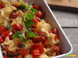 Insalata di pasta con peperoni, pomodorini e chorizo