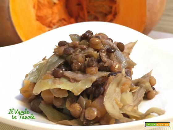 Lenticchie con carciofi e zucca