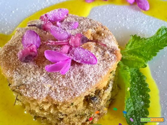 Dolce rustico vegan con fiori albero di Giuda e foglie di Melissa fresca!