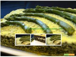 Tortino di riso Venere con asparagi e mozzarella