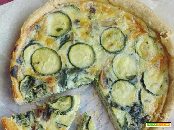 Quiche di farro con zucchine, funghi e spinaci