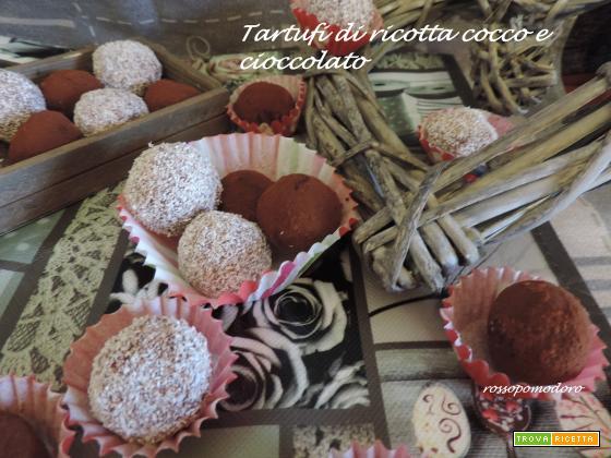 Tartufi di ricotta cocco e cioccolato