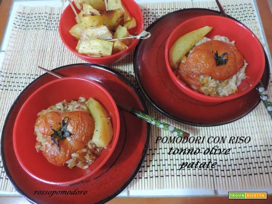 Pomodori con riso tonno olive patate