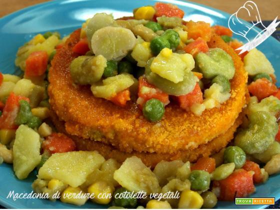 Macedonia di verdure con cotolette vegetali