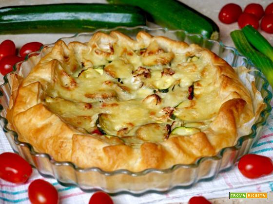 Torta Salata con Pomodorini, Zucchine e Formaggio