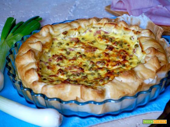 Torta Salata con Prosciutto e Piselli