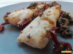 Cuori di merluzzo con trito di olive e mandorle