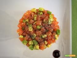 Tartare di salmone, avocado e zenzero