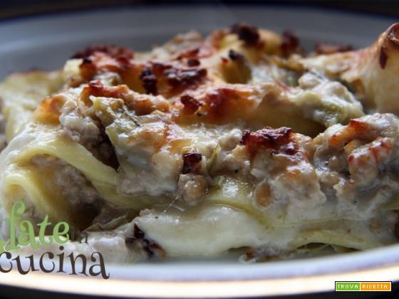 Lasagne con Salsiccia e Carciofi