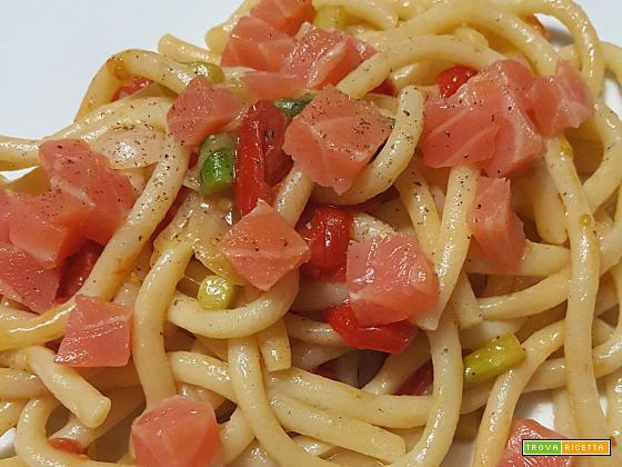 Pasta fresca pomodorini asparagi e salmone - Oggi cucina...Samanta