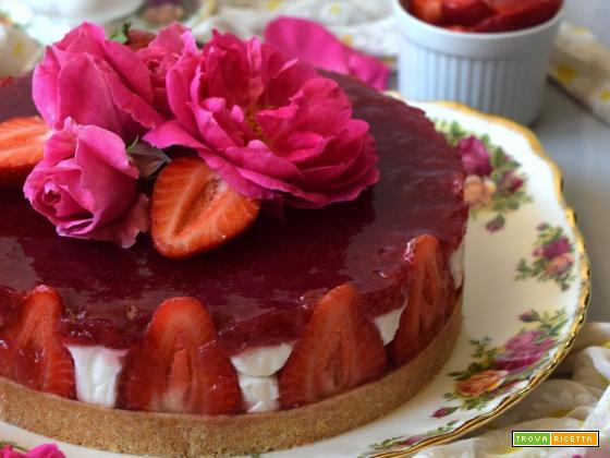 Cheesecake al cocco con composta di fragole, petali di rosa e lime per l'MTC n°57