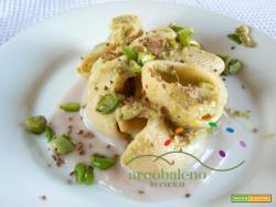 Conchiglioni di Pasta Bio farina Saragolla con crema di Fave e Sorgo al profumo di semi di Anice