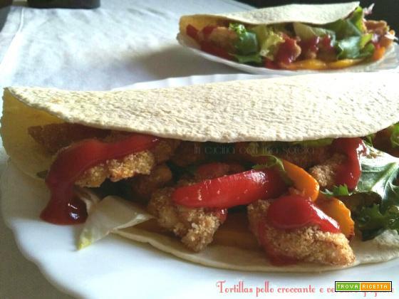 Tortillas pollo croccante e verdure grigliate