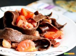 Pizzoccheri al cacao con pancetta croccante e pomodori