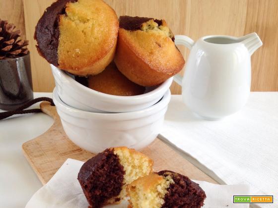 Muffin bicolor al cocco e cioccolato