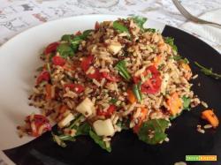 Senza Bimby, Riso Lungo Integrale e Quinoa con Pomodorini, Carote, Rucola e Mozzarella Veg