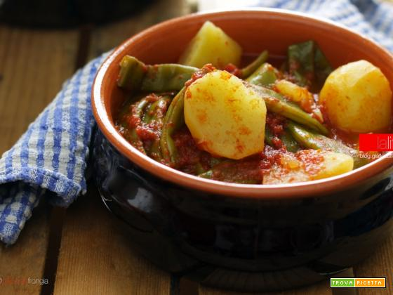 Taccole e patate in umido, ricetta vegana