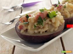Barchette di patate con risotto al guanciale