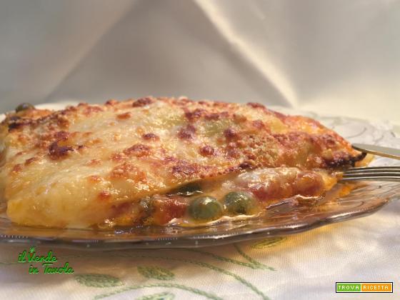 Lasagne fave, piselli e formaggi