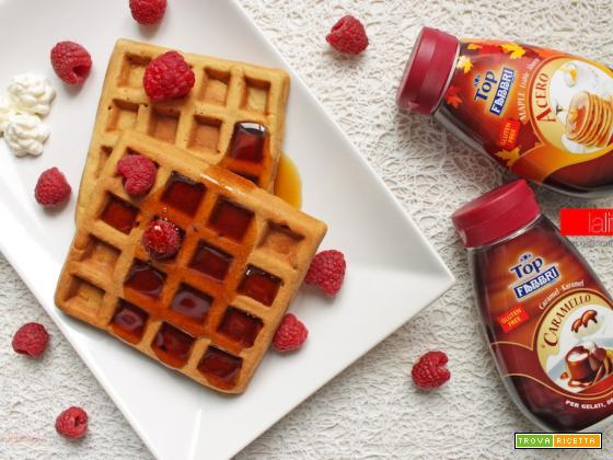 Waffle aromatizzati al caramello e allo sciroppo d'acero