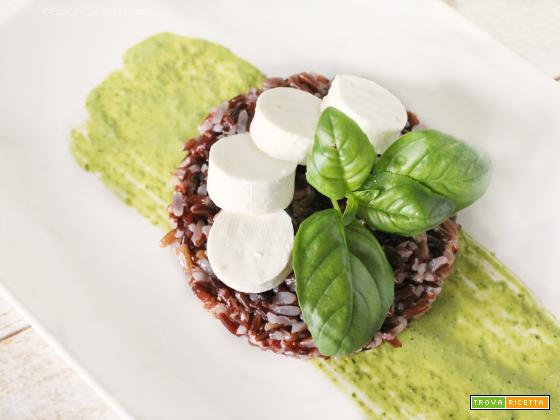 Insalata di Riso Rosso con Emulsione di Rucola e Basilico e Primo Sale (anche versione Vegan)