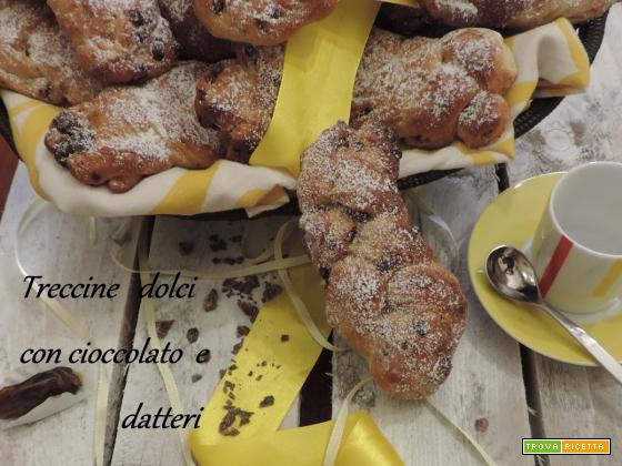 Treccine dolci con datteri e cioccolato fondente