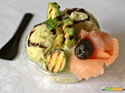 Gelato di zucchine con salmone affumicato, mortadella e glassa al aceto balsamico