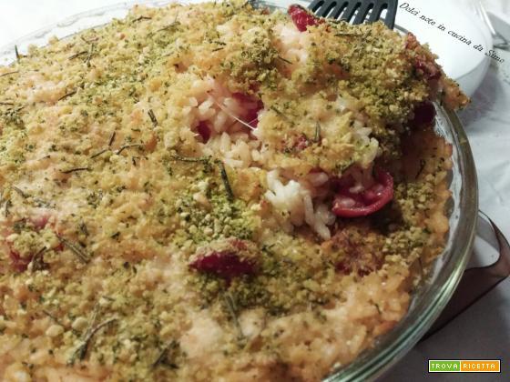 Riso al gratin con pomodorini e mozzarella agli aromi