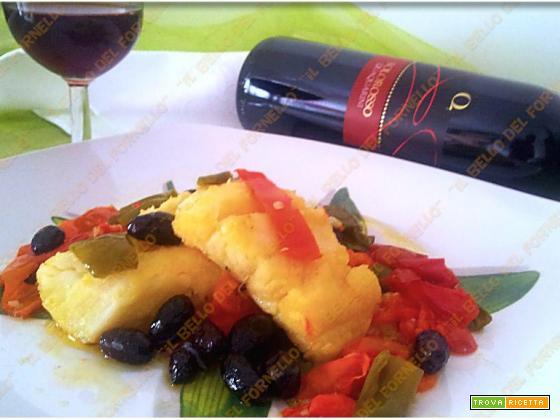 Baccalà in umido con peperoni ed olive