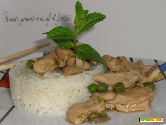 Bocconcini di pollo alla soia con piselli