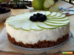 Cheesecake con mela verde, banana e more
